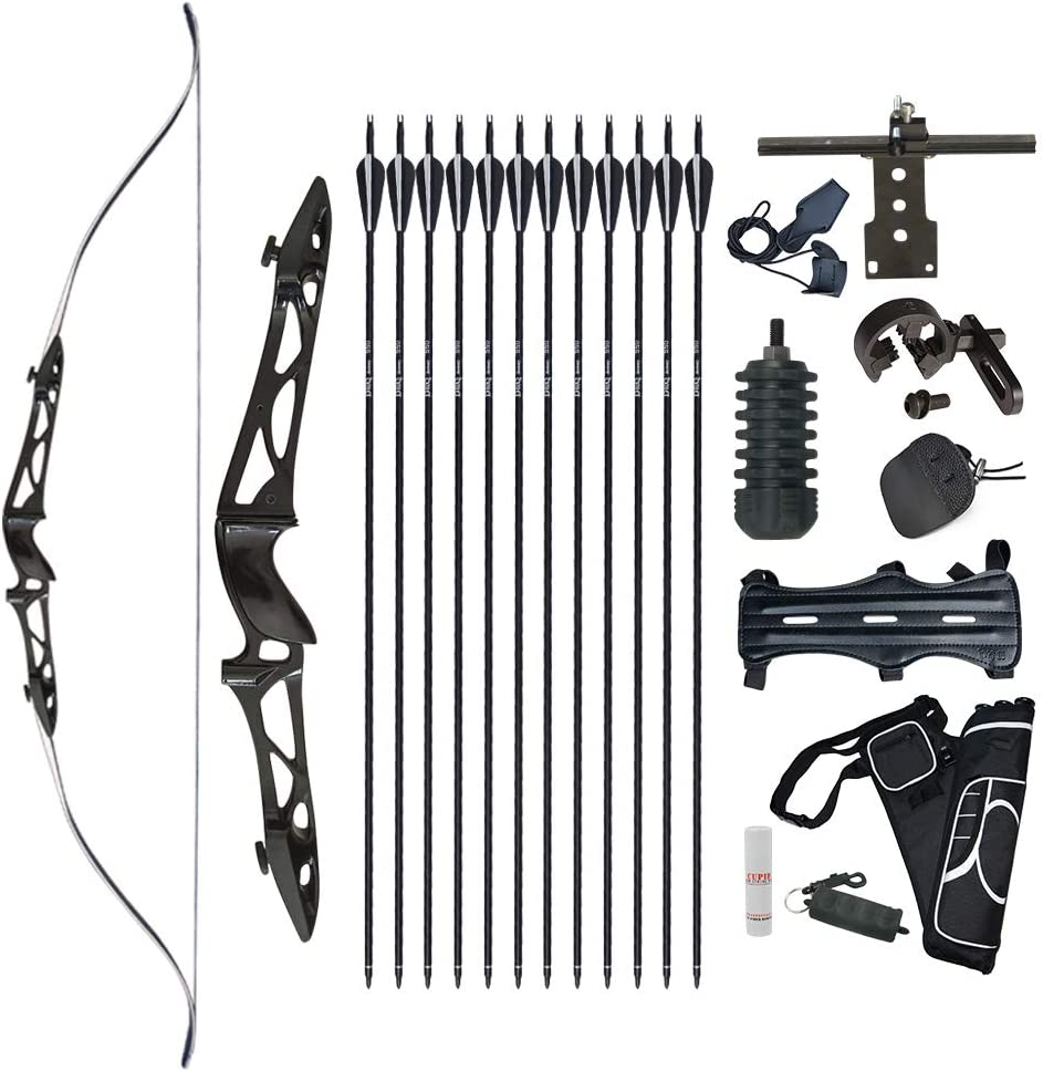 Tongtu 64 Recurve Bow and Arrows for Adults Hunting Accessories Kit Archery Set Takedown Bows Beginners Target Practice 26 34 LBS Right Hand