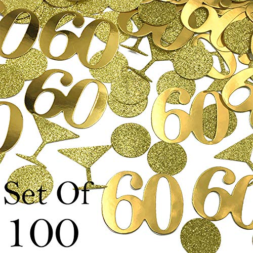 60 Confetti - 60 Party Decorations 60 Number in Foil Gold Circle and Martini Glass Confetti in Glitter Gold 60th Birthday Party Confetti 60 Birthday Party Decorations - Set of 100 ()