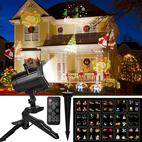 Christmas Projector Lights, Comkes 15 Patterns LED Projector Lights Waterproof Dynamic Outdoor Christmas Lights Spotlights Decoration for Christmas, Halloween, Birthday, Valentine's Day, Wedding,Party]()