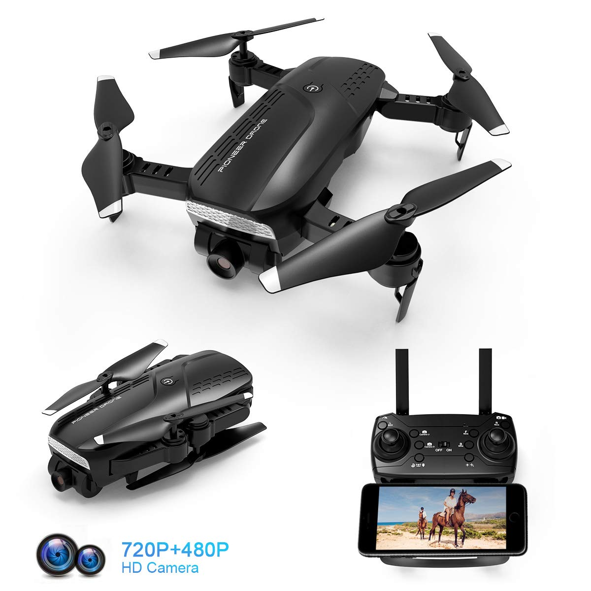 Foldable Drone with 720P HD Camera, 2.4 Ghz RC Quadcopter, 120° Wide-Angle, Altitude Hold, Voice Control, APP Control, One Key Return, Easy to Fly for Beginners Adults Boys Girls, 2 Batteries by shimu