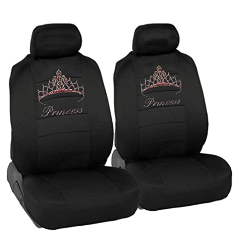 American USA Rooster Crystal Studded Rhinestone Car Low Back Seat Covers 4pc