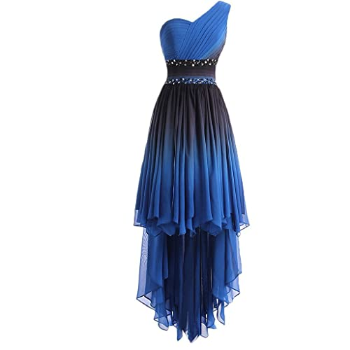 Lemai One Shoulder High Low Ruffles Beaded Prom Homecoming Cocktail Dresses