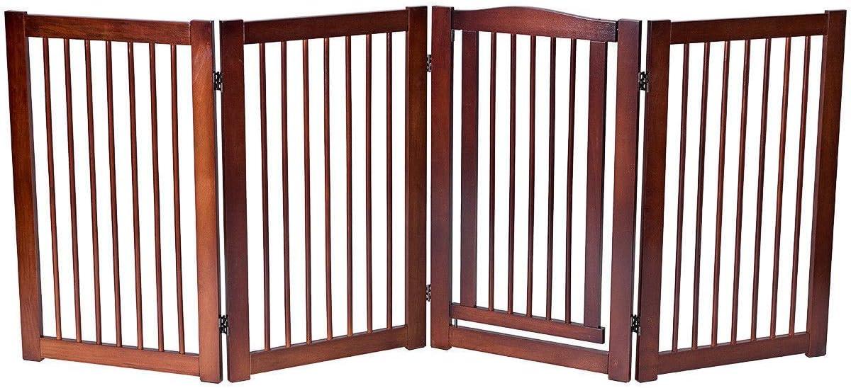 COSTWAY Barrera de Seguridad Plegable de Madera para Puerta Escalera Valla Protección con Puera para Bebé Perro Mascotas