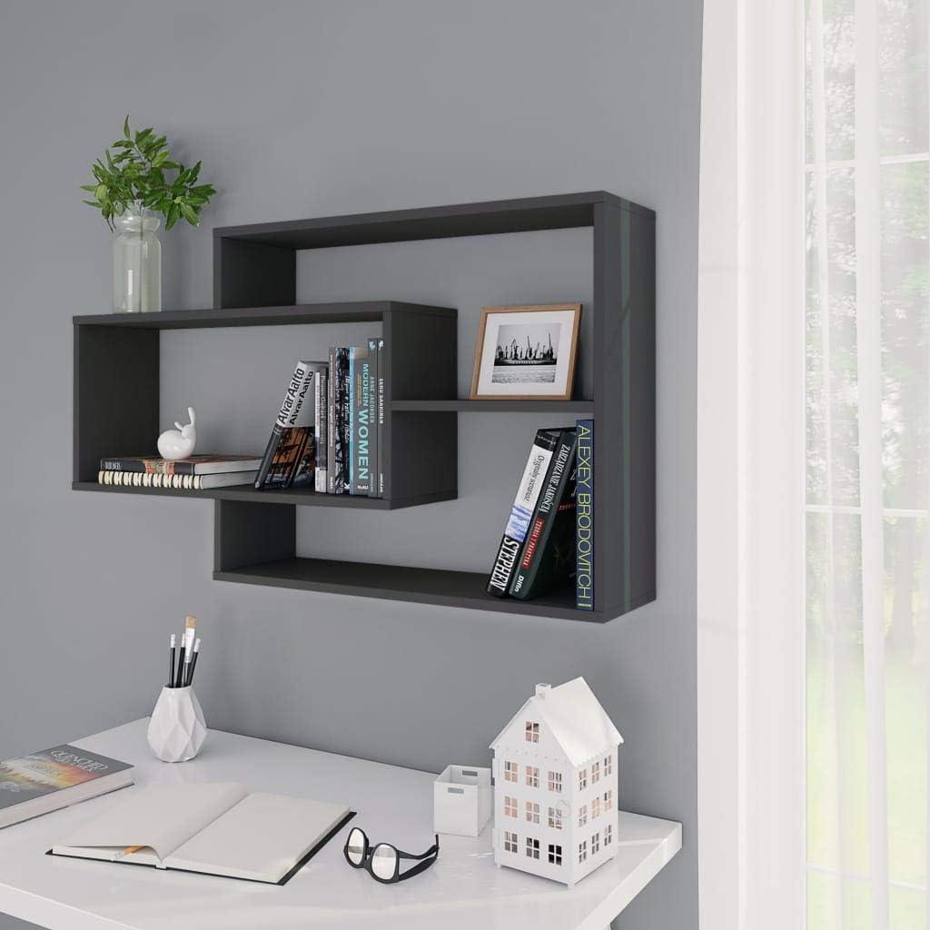vidaXL Wall Shelves Living Room Hallway Space Saving Floating Cabinet Display Unit Bookshelf Organiser Sonoma Oak 104x24x60cm Chipboard Grey