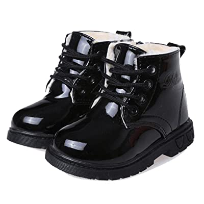 Cattior Toddler Little Kid Patent Leather Lace Warm Kids Shoes Flat Boots (11 M, Black)