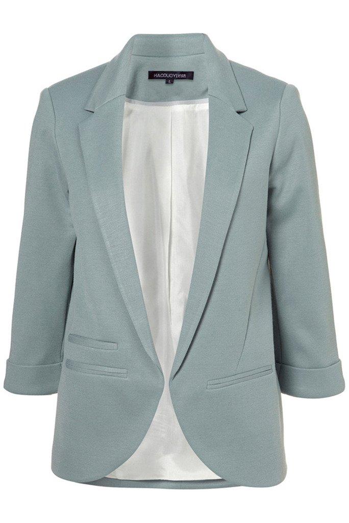 My Wonderful World Women's V-Neck Coat Lapel Blazer Large Blue Ash