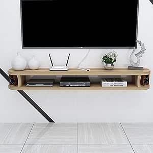 Estante Flotante Estante Flotante para componentes de TV Consola de Medios de Pared Soporte de TV Estante para Reproductores de BLU-Ray DVD Caja de TV satelital Caja de Cable (Color: Beige: Amazon.es: