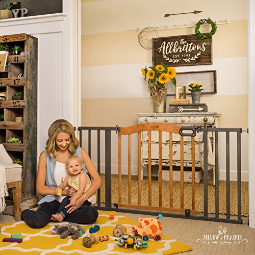 """Summer Decorative Wood & Metal Safety Baby Gate, New Zealand Pine Wood and a Slate Metal Finish – 32"""" Tall, Fits…"""