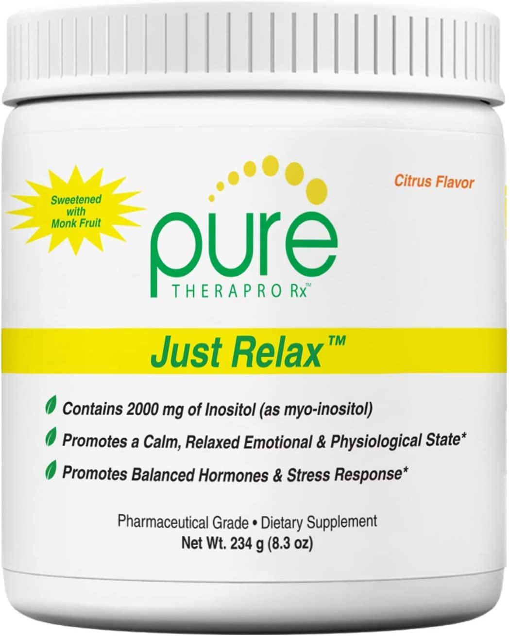 Just Relax – Citrus 60 Servings Supports Relaxed Mood, Healthy Blood Pressure, Emotional Wellness, Hormonal Balance* Myo-inositol Di-Magnesium Malate, GABA, Taurine, L-Theanine Suntheanine