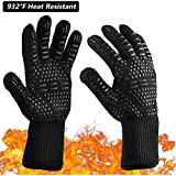MSDADA BBQ Grill Gloves,932°F Oven Gloves Heat Resistant Cooking Mitts, BBQ Grilling Cooking Gloves, Cut Resistant and Forearm Protection,Fireplace Accessories and Welding for Grilling, Cooking Black