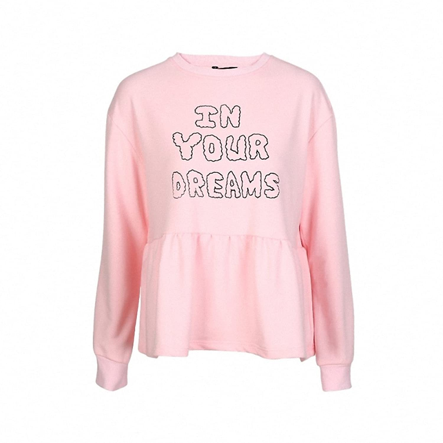 Solid Pink Knitted Rib Ruffles Patchwork Sweatshirts Sweet Preppy Style Casual Letters Printed Pullovers Sweatshirt at Amazon Womens Clothing store: