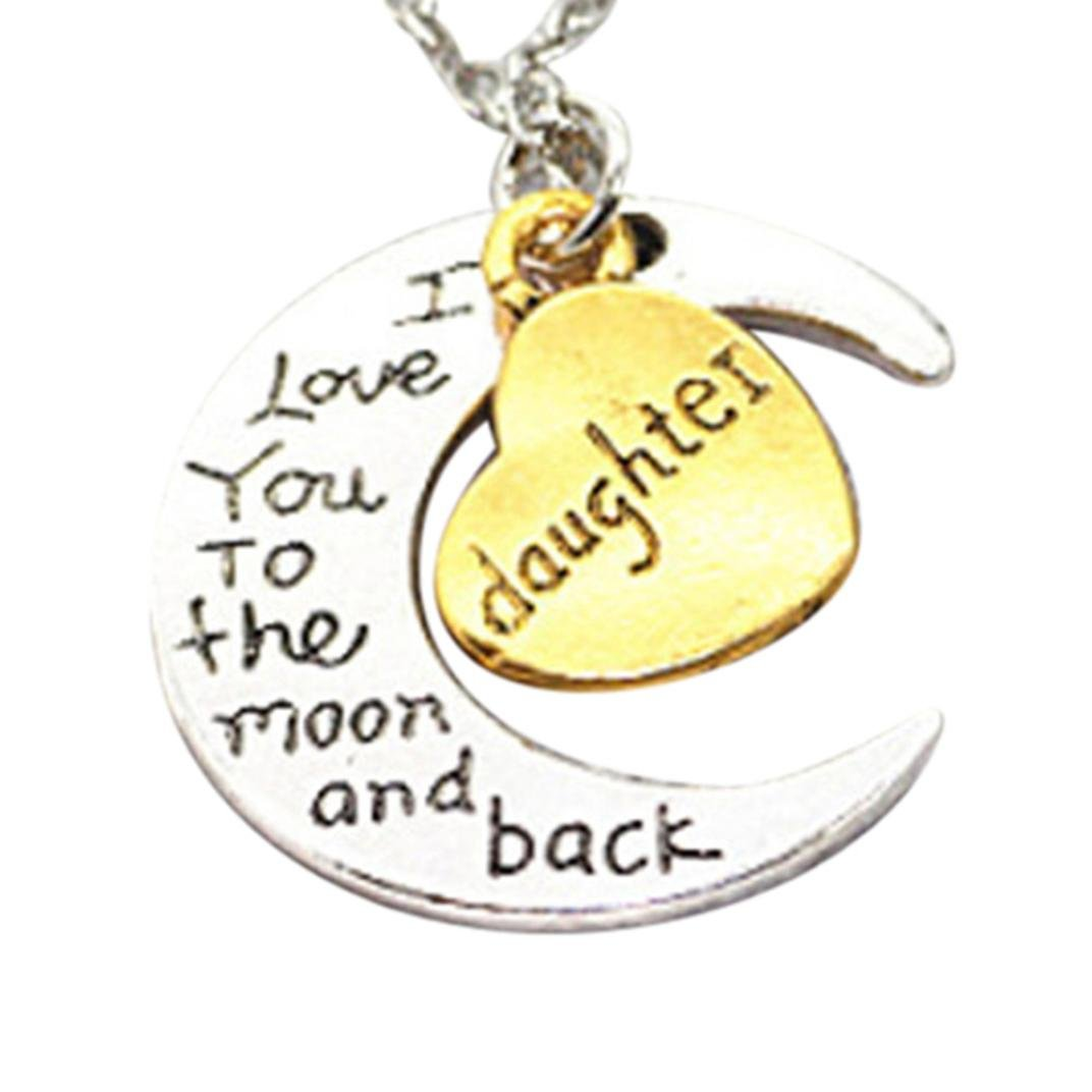 I Love You To The Moon And Back' Engraved Silver Moon Heart Family Members Letters Pendant Necklace Jewelry (F Daughter, Mixed Metals)