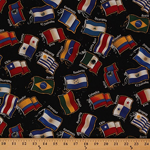 Cotton Latin Flags South America Black Chile Belize Mexico P