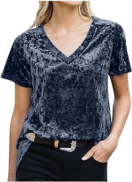 Elecenty Cuello en V Camisetas para Mujer Tallas Grandes Terciopelo Dorado Camisas de Manga Corta Verano Sweatshirt Pullover Blusas de Fiesta T-Shirt Tops: Amazon.es: Deportes y aire libre