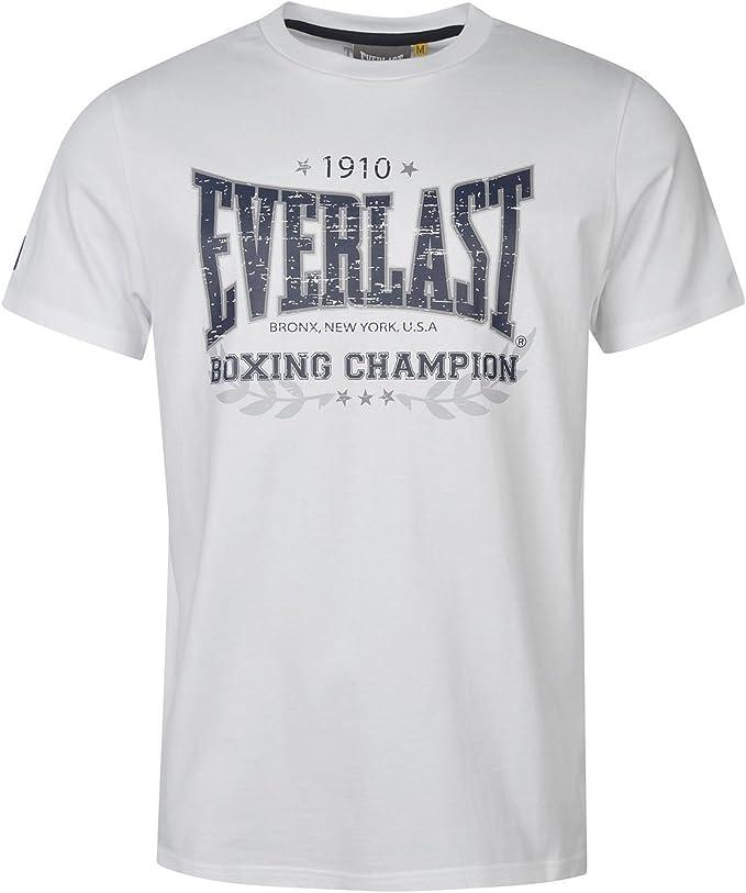 Everlast - Camiseta - para hombre Blanc/Bleu Marine Large: Amazon ...