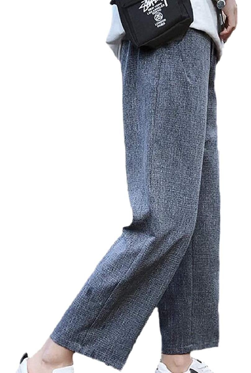 ZXFHZS Mens Straight Fit Flat Front Junior Baggy Ankle Length Casual Pants