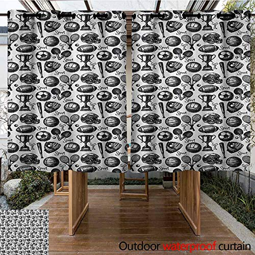 AndyTours Outdoor Curtains,Sport,Monochrome Trophy Baseball Glove Ping Pong Ball Sketch Style Bat Tournament Inspired,for Patio/Front Porch,K140C160 Black White