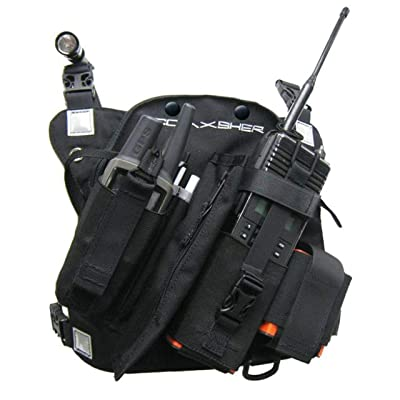 Coaxsher Radio Chest Harness Rig for 2 Way Radio, GPS and Hand Held Electronics | Ideal for Tactical Search and Rescue, Ski Patrol, Military and Emergency Response Personnel (Black, RCP-1 Pro): GPS & Navigation