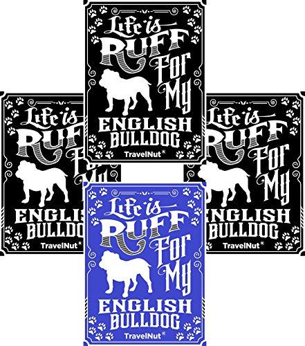 4 Pack Top English Bulldog Lover Gift Set Magnet Sticker Easter Basket Filler Idea