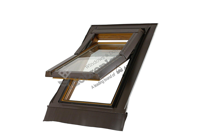 SUCCSALE-Hochwertiges Schweiz SkyLight Premium Kunststoff Dachfenster Dachflächenfenster inkl. Eindeckrahmen-Maß:940x1180mm