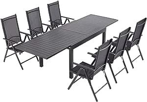 Laxllent - Mesa de jardín extensible (135/270 cm, aluminio + 6 sillas de textileno para terraza y jardín, color negro: Amazon.es: Jardín