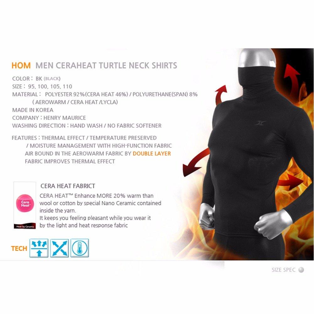 Maglia termica da uomo nera maniche lunghe strato di base a compressione HOM dolcevita