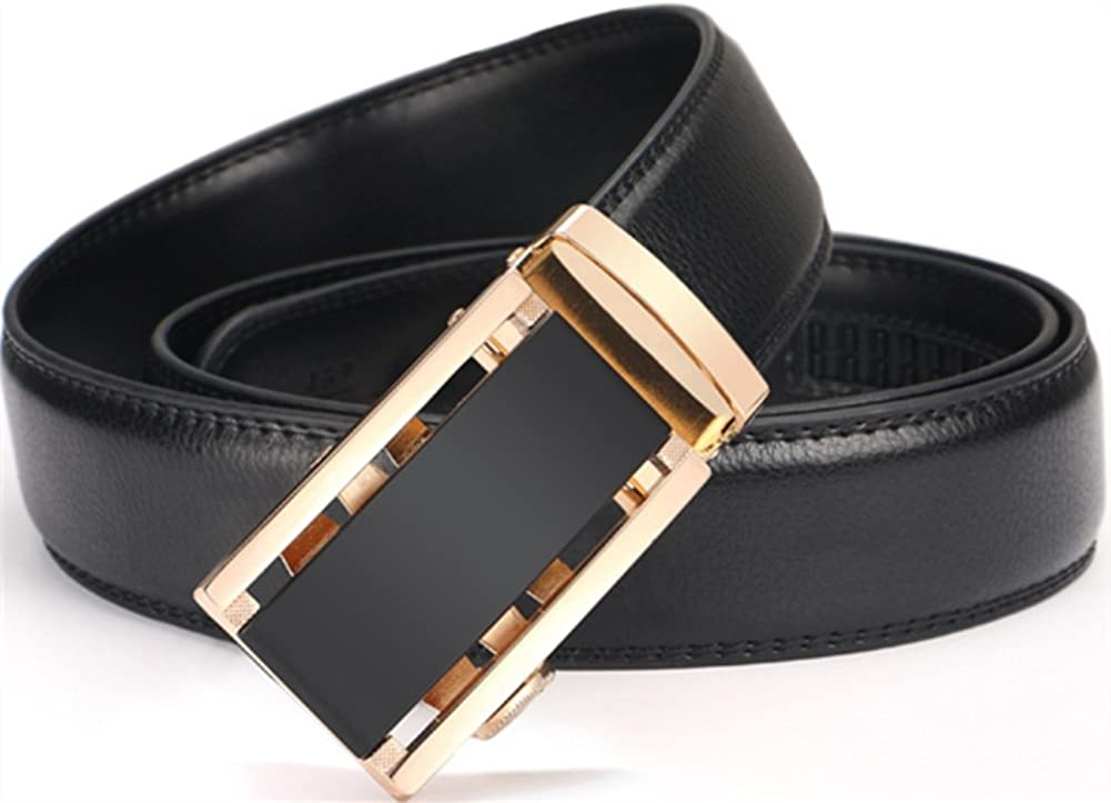 Men/'s Genuine Leather Ratchet Dress Belt With Automatic Buckle