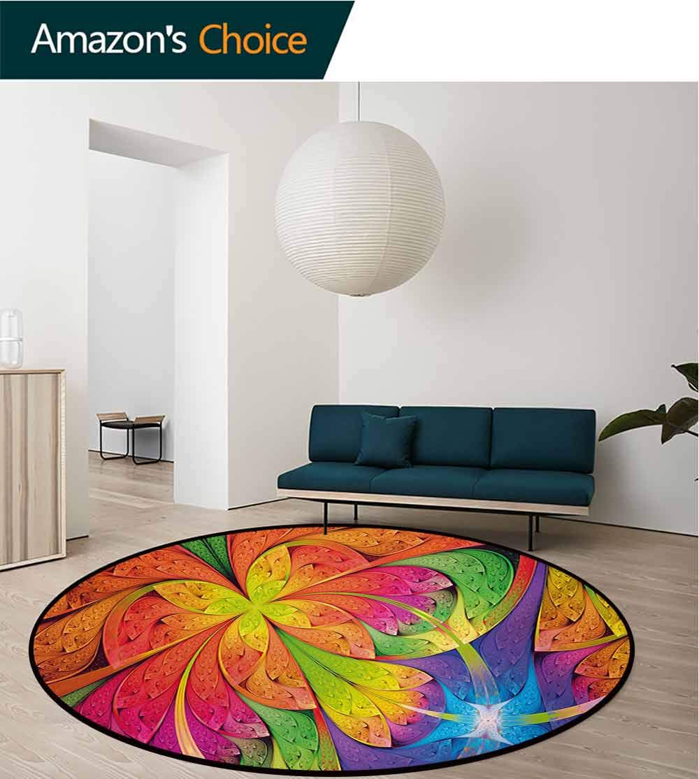 RUGSMAT Fractal Modern Machine Round Bath Mat,Vibrant Rainbow Colored Floral Pattern with Vivid Contrast Curved Leaves Artisan Print Non-Slip No-Shedding Kitchen Soft Floor Mat,Diameter-35 Inch by RUGSMAT (Image #2)