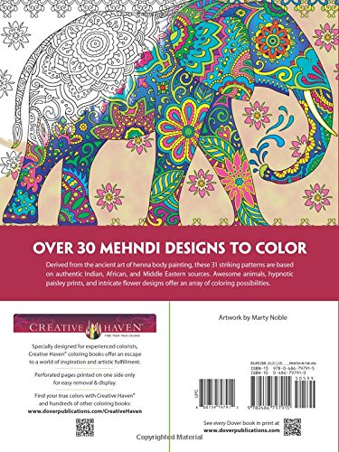 Amazon Creative Haven Magnificent Mehndi Designs Coloring Book Adult 9780486797915 Marty Noble Books