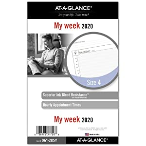 """AT-A-GLANCE 2020 Weekly Planner Refill, Day Runner, 5-1/2"""" x 8-1/2"""", Desk Size 4, Loose Leaf (061-285Y)"""