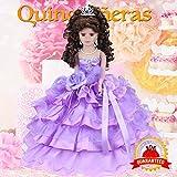 Kinnex Collections by Amanda 18'' Porcelain Quinceanera Umbrella Doll (Table Centerpiece)~ Lavender ~ KK18729-5