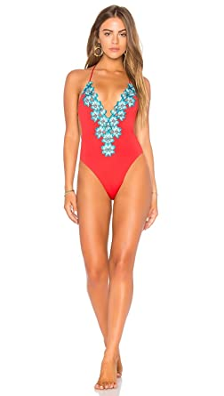 5a1f3eaabfaf1 Image Unavailable. Image not available for. Color: Blue Life Mirage One  Piece Monokini Swimwear Hibiscus Red Blue Lace Floral Trim