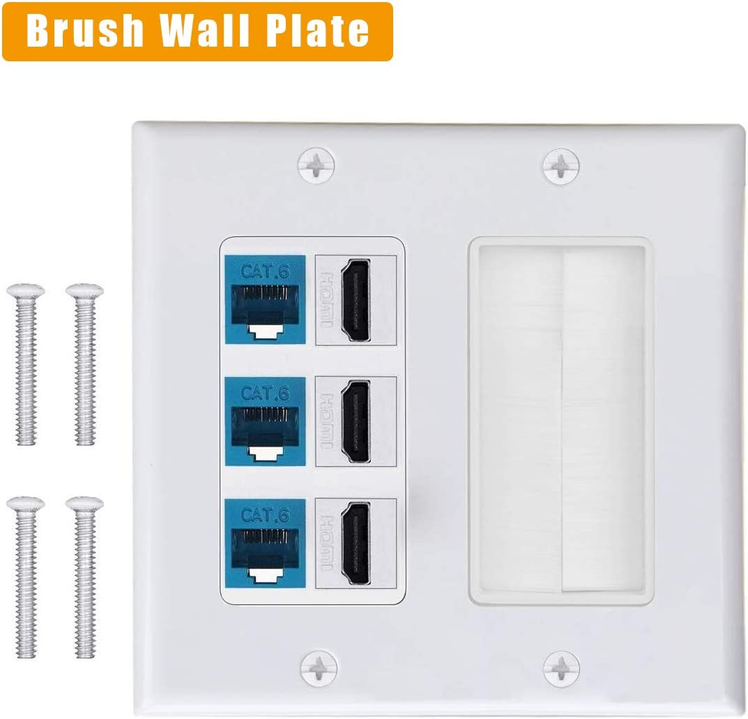 HDMI Home Theater Systems. 3HDMI HDTV Type Keystone Face Plate IQIAN Brush Wall Plate Wall Socket for HDTV 3 CAT6 RJ45 Ethernet
