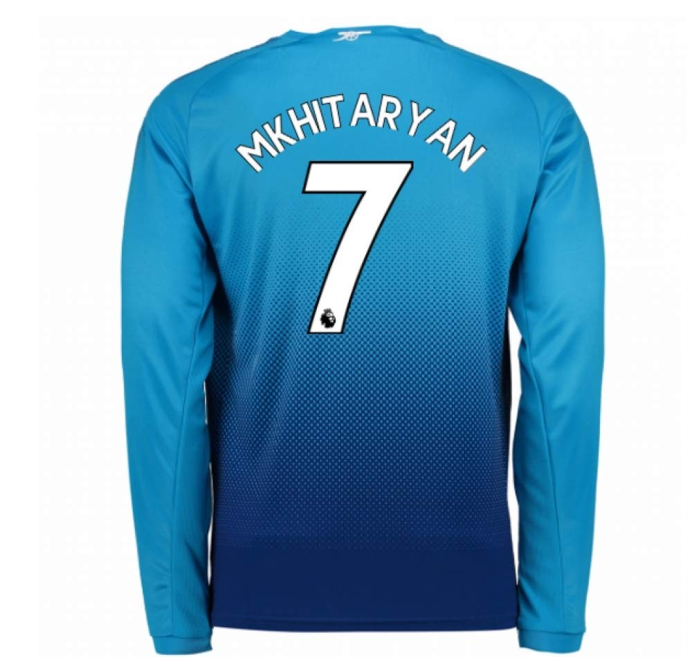 2017-2018 Arsenal Away Long Sleeve Football Soccer T-Shirt Trikot (Henrikh Mkhitaryan 7) - Kids
