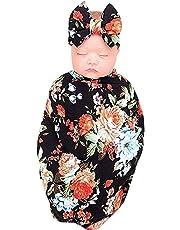 Gide goods Newborn Receiving Blanket Headband Set, Baby Swaddle Receiving Blankets and Newborn Anti-Kicking Sleeping Bags