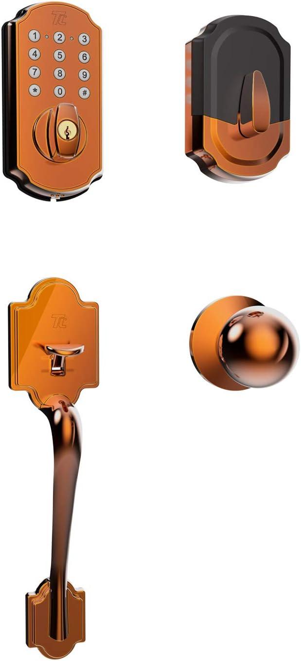TURBOLOCK Front Door Lockset Combo — Digital Deadbolt with Keypad + Entry Handle (Bronze - no App)