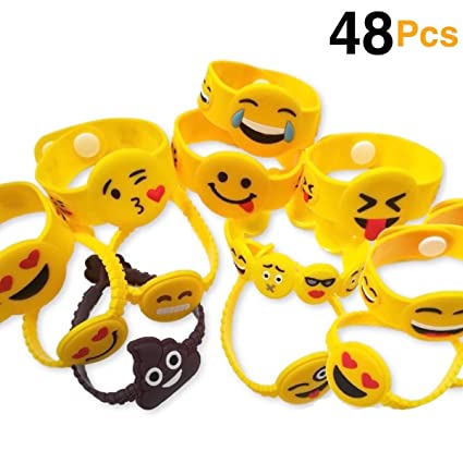 Amazon OHill 48 Pack Mixed Emoji Wristband Bracelets For