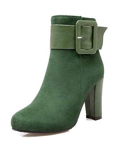 386c864846b751 Minetom Damen Stiefeletten Chelsea Boots Mit Blockabsatz Profilsohle Grün  34 EU