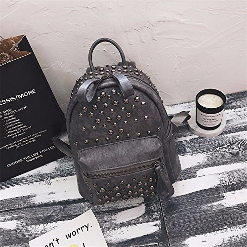 MSZYZ female fashion bag pack shoulder casual woman bag Rivet gray qCgHqxtr