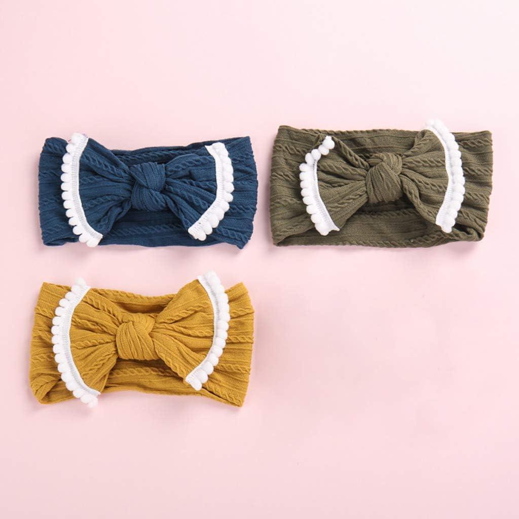 TrifyCore Baby-M/ädchen-elastische weiche Haar-Band-Baby-Bogen-Stirnb/änder Turban-Bogen-Haar-Zubeh/ör 6Pcs