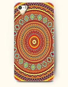 SevenArc New Apple iphone 5 / 5S Hard Back Case - MANDALA CIRCLE - Red Yellow Ethnical Mandala Circle Pattern