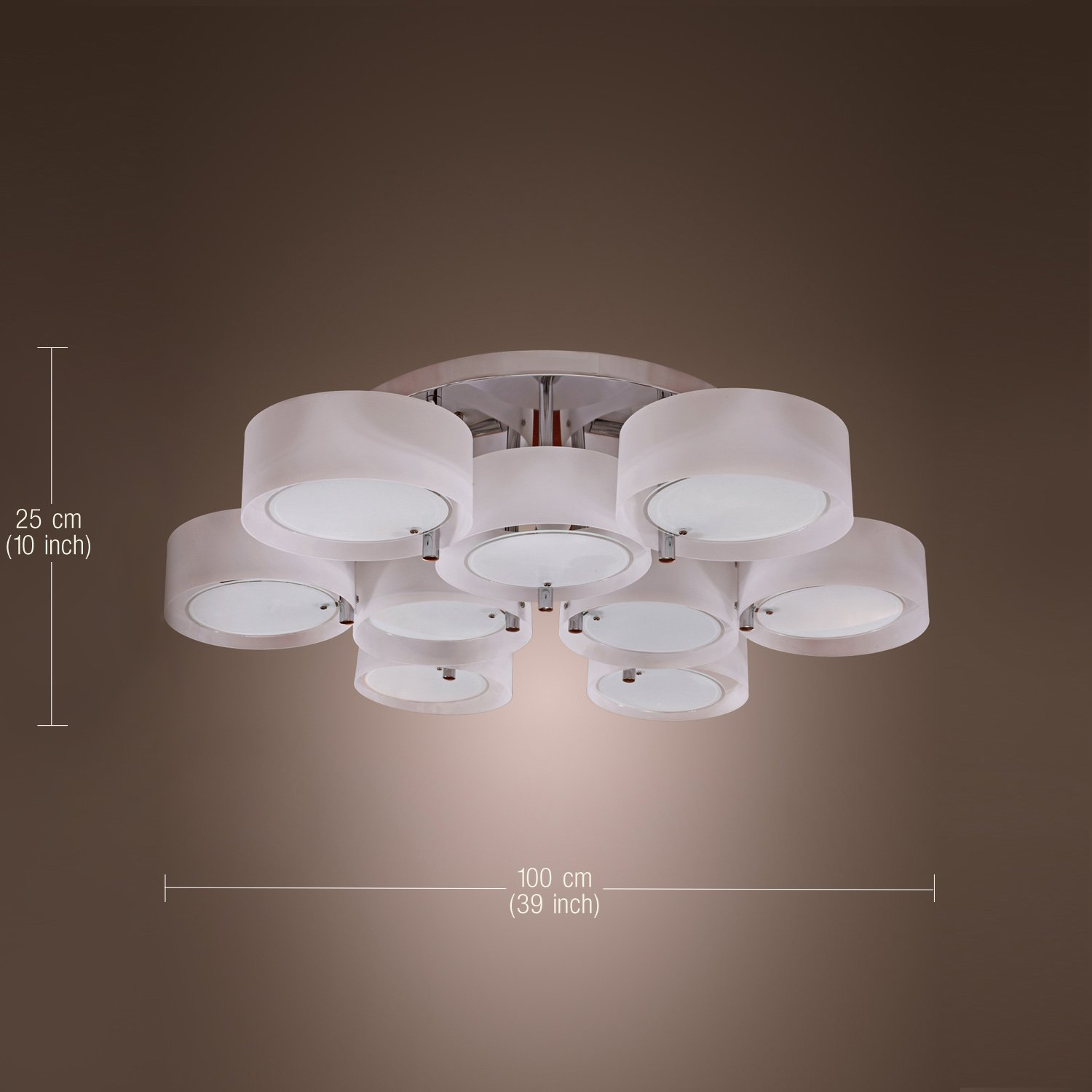 Lightinthebox acrylic chandelier with 9 lights flush mount modern ceiling light fixture chrome finish