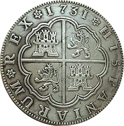 Moneda de plata de ley antigua de 1731 años de España de 8 reales, color plateado: Amazon.es: Oficina y papelería