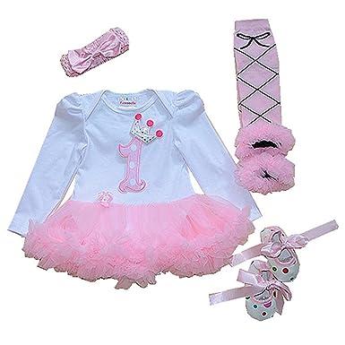 a326ff52c Sallyshiny Newborn Baby Girl 1st Birthday Romper Dress Outfit Bodysuit Tutu  Skirt Clothes 4pcs/Set Headband Shoes Leg Warmer: Amazon.co.uk: Clothing