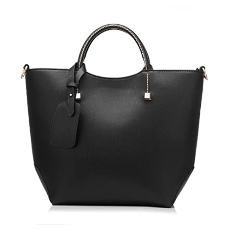152ca198ac9c Beautyfronta Women Large Bucket Shoulder Bag Artificial Leather Tote Bag  new black