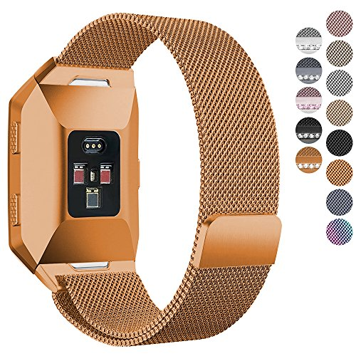 Fitbit Ionic Bands, hooroor Fully Magnetic Closure Clasp Mesh Loop Milanese Stainless Steel Ionic Band for Fitbit Ionic Smartwatch (Burnt Orange, Small)