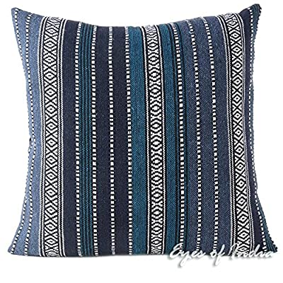 "Eyes of India - 24"" Blue Black Big Striped Dhurrie Decorative Pillow Cushion Cover Case Throw Sofa Couch Indian Bohemian Accent Colorful Boho Chic Seating Handmade Cover ONLY - ***CUSHION COVER ONLY. INSERT SOLD SEPARATELY*** Search ""Eyes of India Insert"" to buy inserts for our pillow covers. Size: 24 X 24 in. (60 X 60 cm); Hidden zipper enclosure on back. These decorative and colorful accent pieces are embroidered by artisans using traditional Indian techniques. Our boho pillows are multi colored and made with superior quality, impressive durability and for long-lasting use. - living-room-soft-furnishings, living-room, decorative-pillows - 61m5lWI1nBL. SS400  -"
