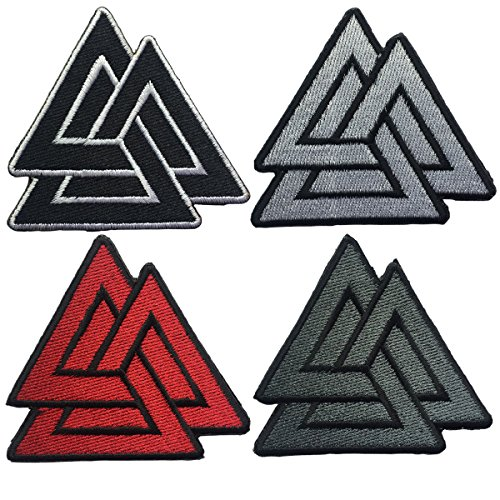 """SpaceAuto Bundle 4 Pieces Valhalla Valknut Triangle Symbol Nordic Viking Odin Military Tactical Morale Badge Hook & Loop Fastener Patch 2.68"""" x 2.68"""""""