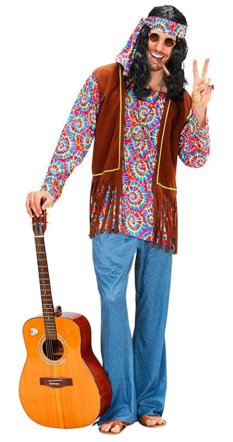 Karneval Klamotten Hippie Kostum Herren Flower Power Peace Kostum