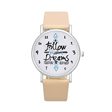Coconano Relojes Mujer Baratos, Mujeres Siguen El Reloj de Cuero de Los Sueños de Palabras: Amazon.es: Ropa y accesorios